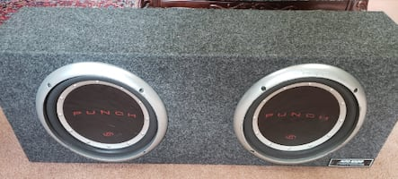 Kenwood Amp and 2 10in Punch P1 Subwoofers in box