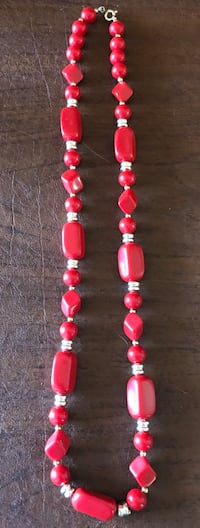 "12"" Red and Silver Costume Necklace 50 mi"