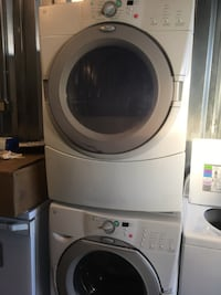 Like new whirlpool duet front load washer and electric dryer