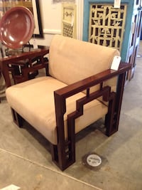 brown wooden framed white padded glider chair Costa Mesa, 92627