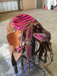 """16"""" barrel saddle or trail pink zebra with matching Headstall and breast collar"""