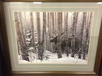 gray moose surrounded by trees painting