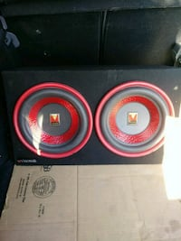 black and red Pioneer subwoofer speaker Paramount