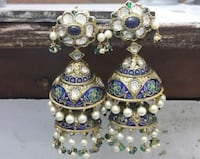 gold-colored-and-blue jhumka earrings Jaipur