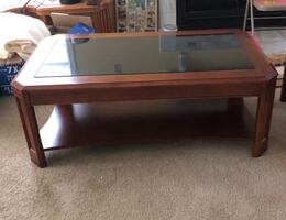 Cherry wood coffee table with granite top