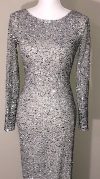 Silver long sleeve beaded dress Reisterstown