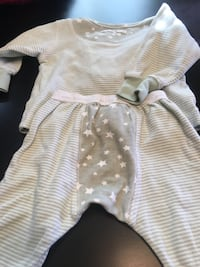 baby's white and pink striped onesie
