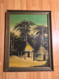 Original framed painting, Tahitian Huts and Trees