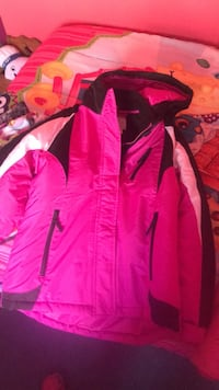 Pink, white, and black hooded windbreaker