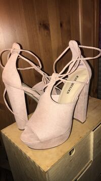 Pair of white leather open-toe ankle strap heels Woodbridge, 22193