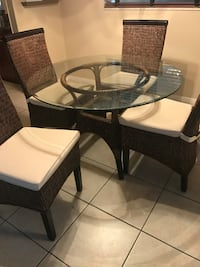 round glass top table with four chairs dining set TAMPA