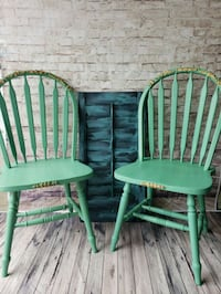 two green wooden windsor chairs Brampton, L6S 3C8