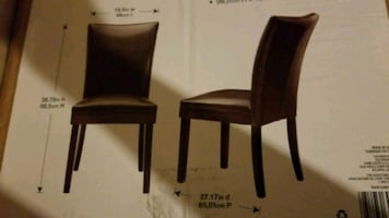 4 dark brown bonded leather chairs