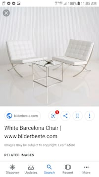 Leather modern white  chair Silver Spring