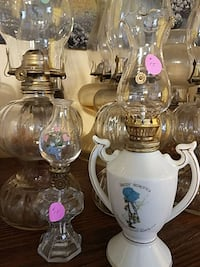 clear glass and white ceramic kerosene lamps Lincolnton, 30817