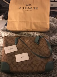 Brown and Turquoise  coach monogram tote bag NEW Albuquerque, 87120