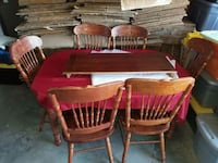rectangular brown wooden table with six chairs dining set Murrieta, 92563