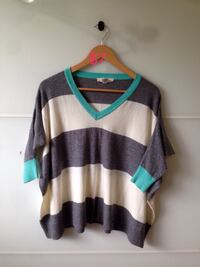 gray, blue, and white striped sweater