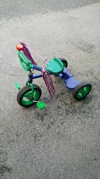 toddler's green and purple bicycle with training wheels Maple Ridge, V2X 8J9
