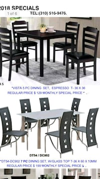 rectangular black wooden dining table with chairs set Santa Ana
