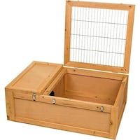 Reptile, tortoises, or small mammal sanctuary 36in L X 24in W X 12in H Wood enclosure has wire safety cover and private sleeping area. Easy to asseble, perfect for tortoises and box turtles.