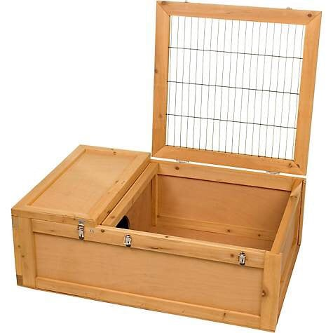 Reptile, tortoises, or small mammal sanctuary 36in L X 24in W X 12in H Wood enclosure has wire safety cover and private sleeping area. Easy to asseble, perfect for tortoises and box turtles. ab61ea96-747c-46d4-a491-d28c5775b316