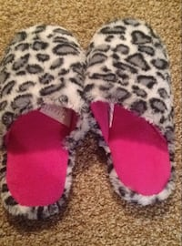 pink black gray and white leopard print house slippers