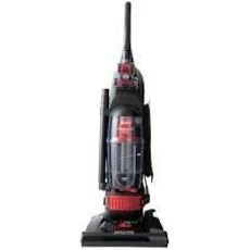 black and red upright vacuum cleaner