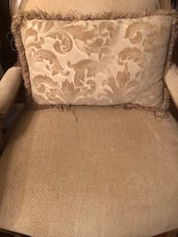 Brown wooden framed beige padded armchair Mount Airy, 21771