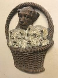 Wall decoration with 3 dogs. Little chip off bottom left of basket. Very old   Ronkonkoma, 11779