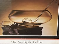 Contemporary glass 14 piece punch bowl set.  Mint condition! Tabernacle, 08088