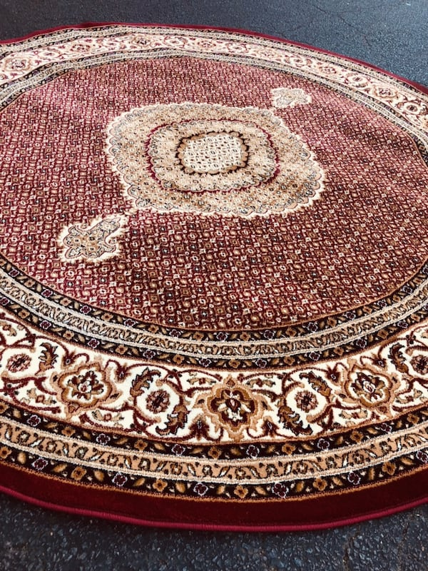 New Turkish Round rug size 8x8 circle carpet red burgundy Persian rugs 8efa012d-9aed-47d0-9284-f59196d8eba1