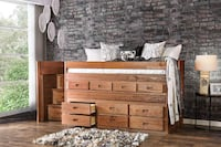 Rustic Style Storage Bed Front Access Steps Drawer Los Angeles