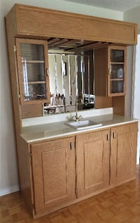 Bar Hutch With Sink Counter Cabinets Mirror Light Brampton