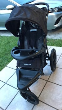 black and gray jogging stroller null