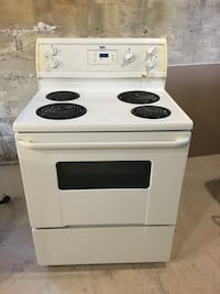 white and black 4-coil electric range oven Beaconsfield, H9W 5M8