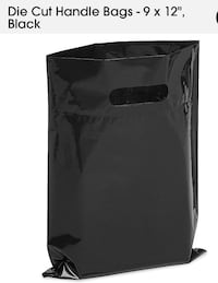 "New box of 500pc 9"" x 12"" black bags with handles Toronto"