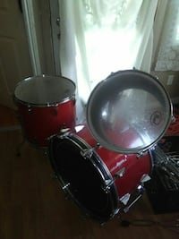 red, and silver bass drum, snare drum, and tom drum Merced, 95348