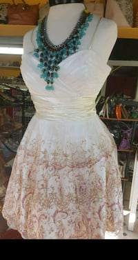 white and brown floral spaghetti strap dress