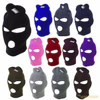 Ski Mask Beanie 3 Hole Warm Face Mask Winter Plain Colors Knitted Cap Hat Unisex Fountain Valley