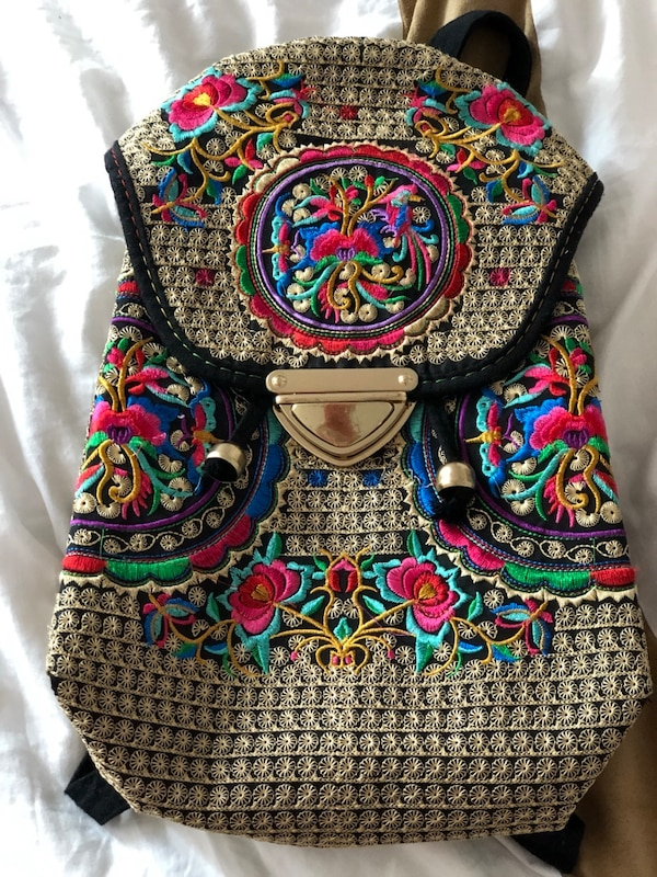 Abuyall Women Ethnic Tribal Embroidery Flower Backpack