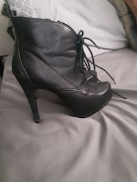 Black leather heel boot paid $80 at le chateau 463 km