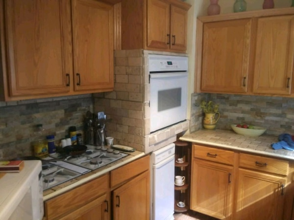 Used New oak cabinets new back splash counter tops new for ...