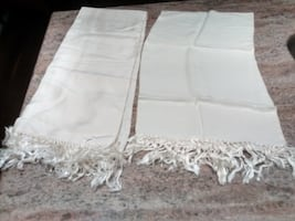 Vintage off-white silk scarves with fringe