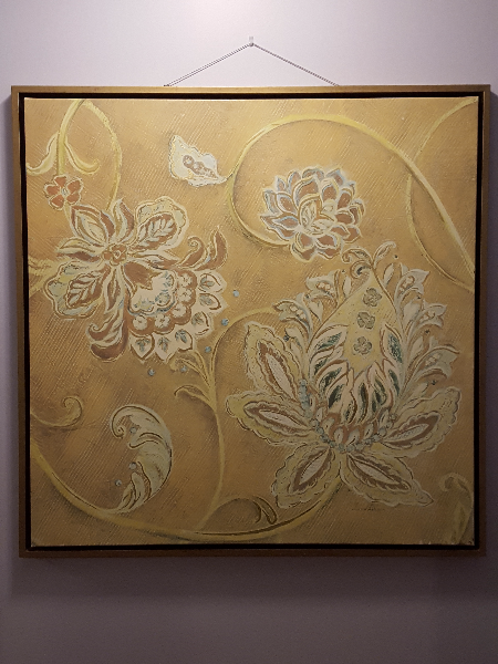 brown, white, and beige floral wall art LONDON