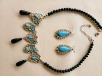 Silver toned black, turquoise blue and rhinestone studded necklace  Henderson, 89052