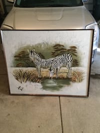 two brown and white zebra painting Eaton, 80615