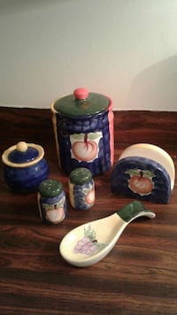 blue pink and white ceramic canisters Quebec, • H4R 1Y0