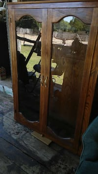 brown wooden with clear glass cabinet Fort Worth