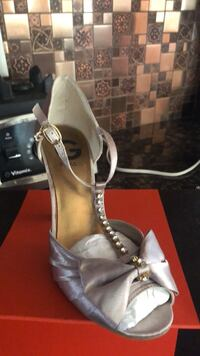 pair of gray leather open toe ankle strap heels Tinton Falls, 07724
